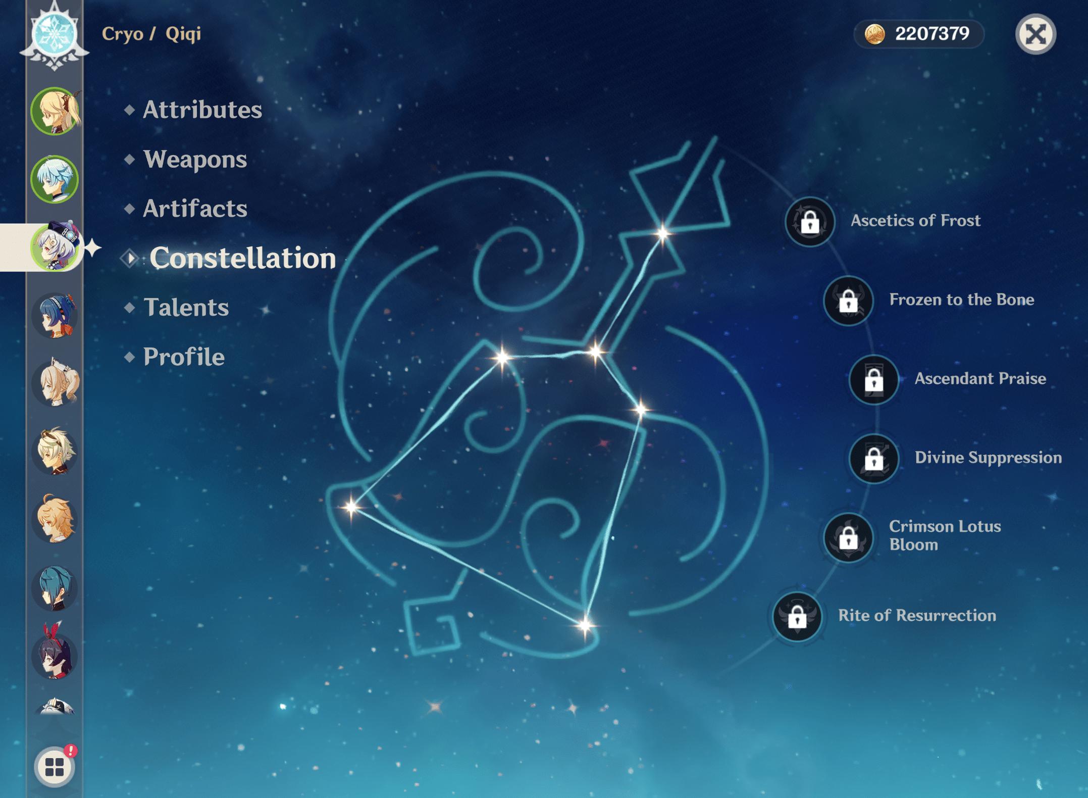 Qiqi constellation levels