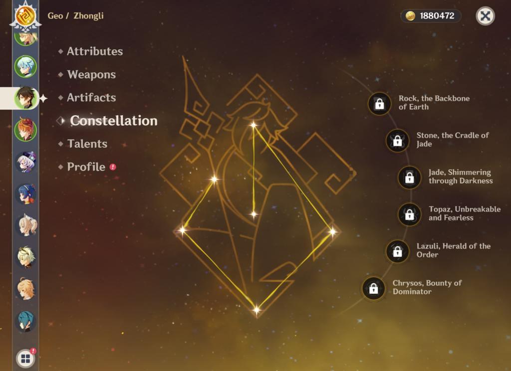 Genshin Impact Zhongli's Constellation
