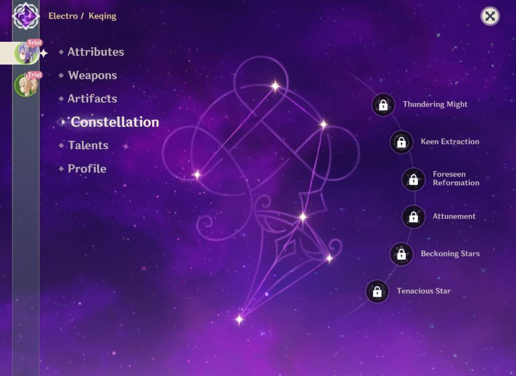 Keqing's constellations